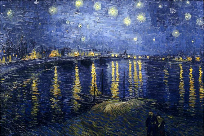P12. The starry night over the rhone, Vincent van Gogh