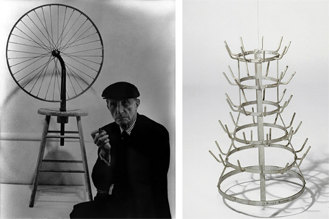deja vu, bicycle wheel and bottle rack by marcel duchamp